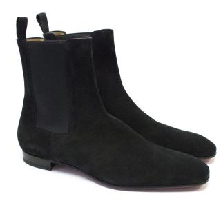 Christian Louboutin Black Roadie Flat Veau Velours Emir Boots