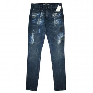 Vince Paint Speckled Skinny Jeans
