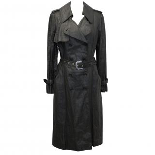 Christian Dior Black Wax Coated Linen Trench Coat