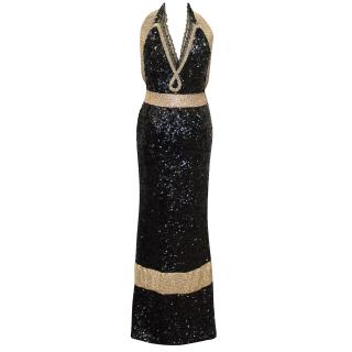 Dolce & Gabbana Bespoke Black and Gold Sequin and Crystal Evening Gown