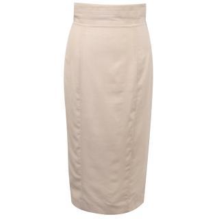 L'Wren Scott Pink Pinstripe Pencil Skirt