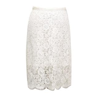 Sacai White Lace Skirt