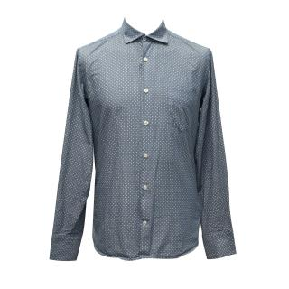 J.Lindeberg Blue and White Polka Dotted Cotton Shirt
