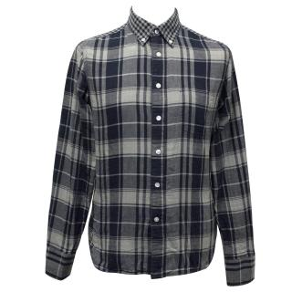 J. Lindeberg Blue and Grey Checked Cotton Shirt