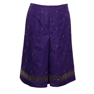 Prada Purple Silk Blend Skirt