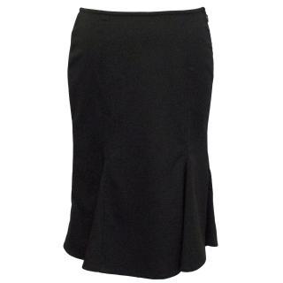 Gianni Versace Vintage Black Wool Blend Skirt