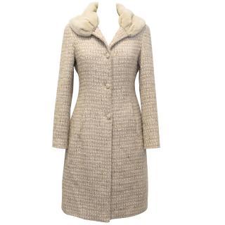 Blumarine Nude Boucle Coat