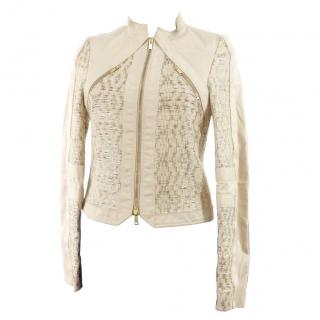 Gucci hand-woven beige & gold leather jacket