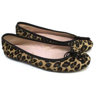Pretty Ballerina Leopard Print Pony skin Ballet Flats
