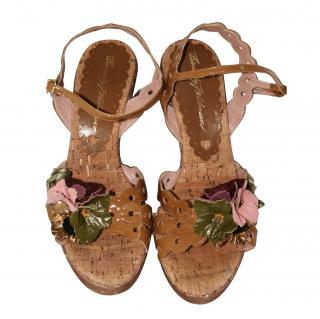 Beverley Feldman wedge flower trim sandals