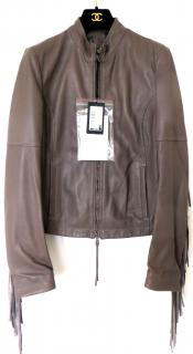 Patrizia Pepe fringed slim leather jacket