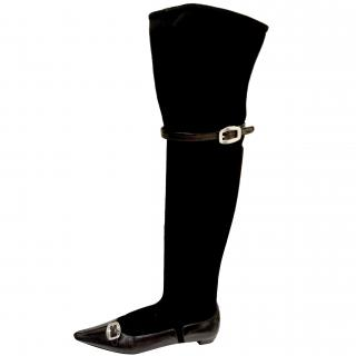 Prada Suede/Leather Over-Knee Boots