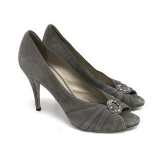 Valentino Grey Suede Peep Toe Shoes