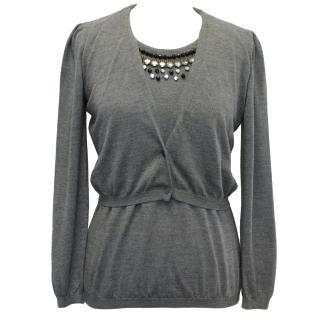 Moschino Grey Embellished Top
