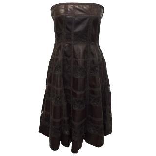 Valentino Strapless Burgundy Leather Dress