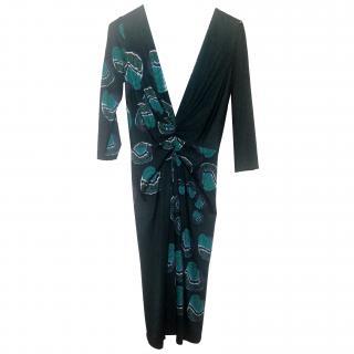 Issa Silk Long Sleeve Dress (Butterfly Pattern)