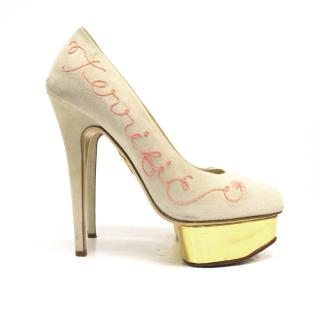 Charlotte Olympia Cream Suede Pumps