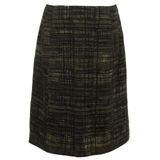 Prada Black and Khaki Printed Skirt