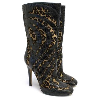 Jimmy Choo Snake  and Leopard Print Boots