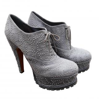 Alaia Grey Arabesque Studded Suede Ankle
