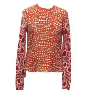 Stella McCartney orange silk heart print top