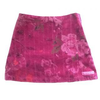 KENZO floral velvet mini skirt girls age 4 dark pink