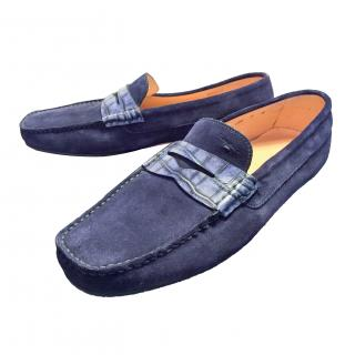 Santoni Moccasins Suede and Crocodile blue