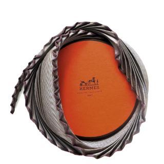 Hermes plisse pleated silk twill scarf