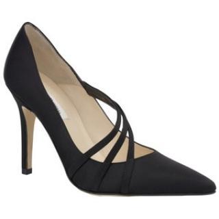 LK Bennett Capote black satin shoes 39