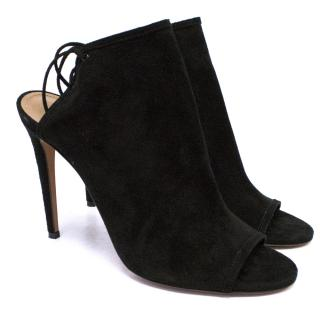 Aquazzura Black Mules in Suede