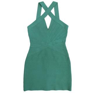 Herve Leger Aqua Green Dress