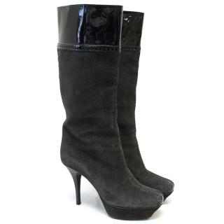 YSL Grey Suede Knee High Boots