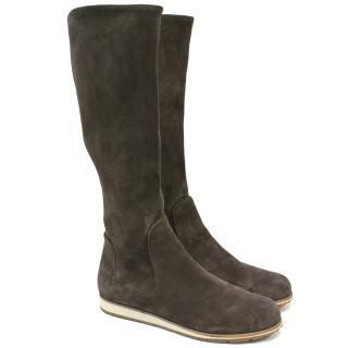 Prada Brown Suede Knee High Boots