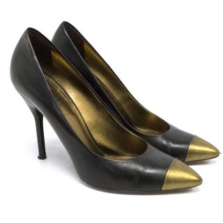 YSL Black Heels with Gold Toes