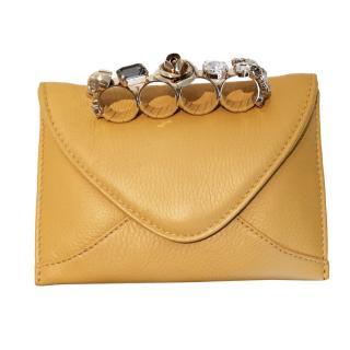 Maison Du Posh Small Envelop Knuckle Ring Leather Clutch