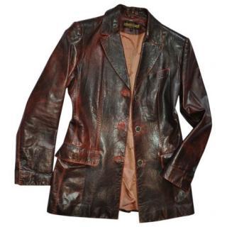 Roberto Cavalli Burgundy Leather Jacket