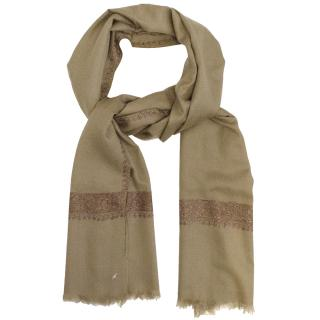 Dark Beige Scarf with Embroidery