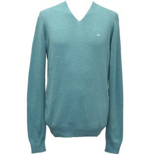 J. Linderberg Aqua Melvin V-Neck Sweater