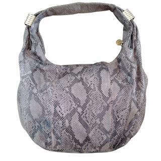SAM EDELMAN calf leather python print medium hobo bag