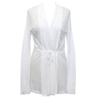 White Cardigan with Waist Tie