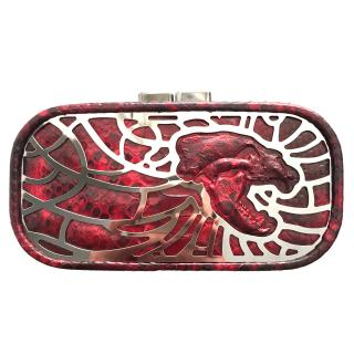 Maison Du Posh Skull Relief Box Shape Python Clutch
