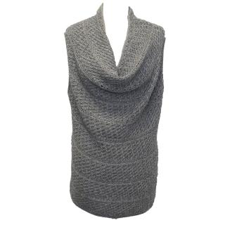 Donna Karan Grey Sleeveless Knit Jumper