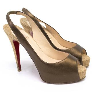 Christian Louboutin Bronze and Cork Sling Back Heels