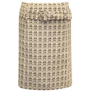 Prada Nude and Gold Patterned Skirt