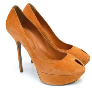 Sergio Rossi 'Iconic Cov Platform' Heels in Orange Suede