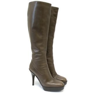 Saint Laurent Brown Platform Knee High Boots