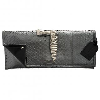 Maison Du Posh Large Envelop Skull Finger Ring Python Clutch