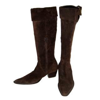 Massimo Dutti brown suede boots