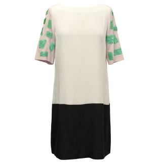 Tibi Cream and Pink Shift Dress