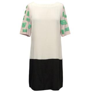 Tibi Cream and Pink Shift Dress